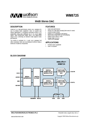 WM8725GED PDF, WM8725GED データシート - Wolfson Microelectronics plc